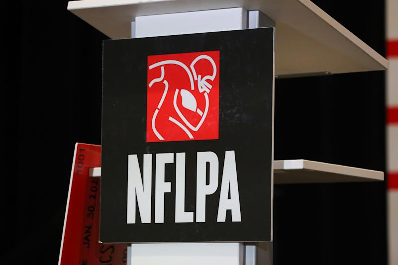 MIAMI BEACH, FL - JANUARY 30: A general view of the National Football League Players Association logo during the NFLPA press conference on January 30, 2020 at the Miami Beach Convention Center in Miami Beack, FL. (Photo by Rich Graessle/PPI/Icon Sportswire via Getty Images)