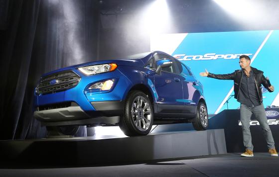 TV host Ryan Seacrest unveils Ford's all-new EcoSport for North America at what Ford says is the first-ever Snapchat vehicle reveal during a three-day event called
