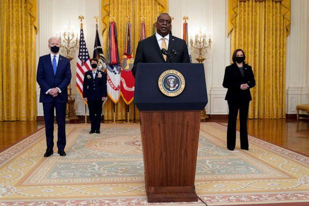 PHOTO: Defense Secretary Lloyd Austin speaks during an event with President Joe Biden and Vice President Kamala Harris to mark International Women's Day, March 8, 2021, in the East Room of the White House in Washington, D.C. (Patrick Semansky/AP)