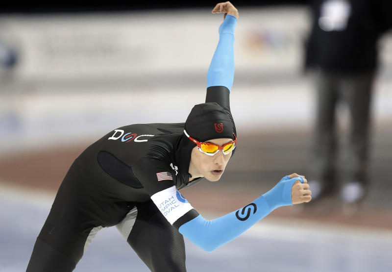 Emery Lehman competes in the men's 10,000 meters during the U.S. Olympic speedskating trials Wednesday, Jan. 1, 2014, in Kearns, Utah. Lehman came in first place. (AP Photo/Rick Bowmer)