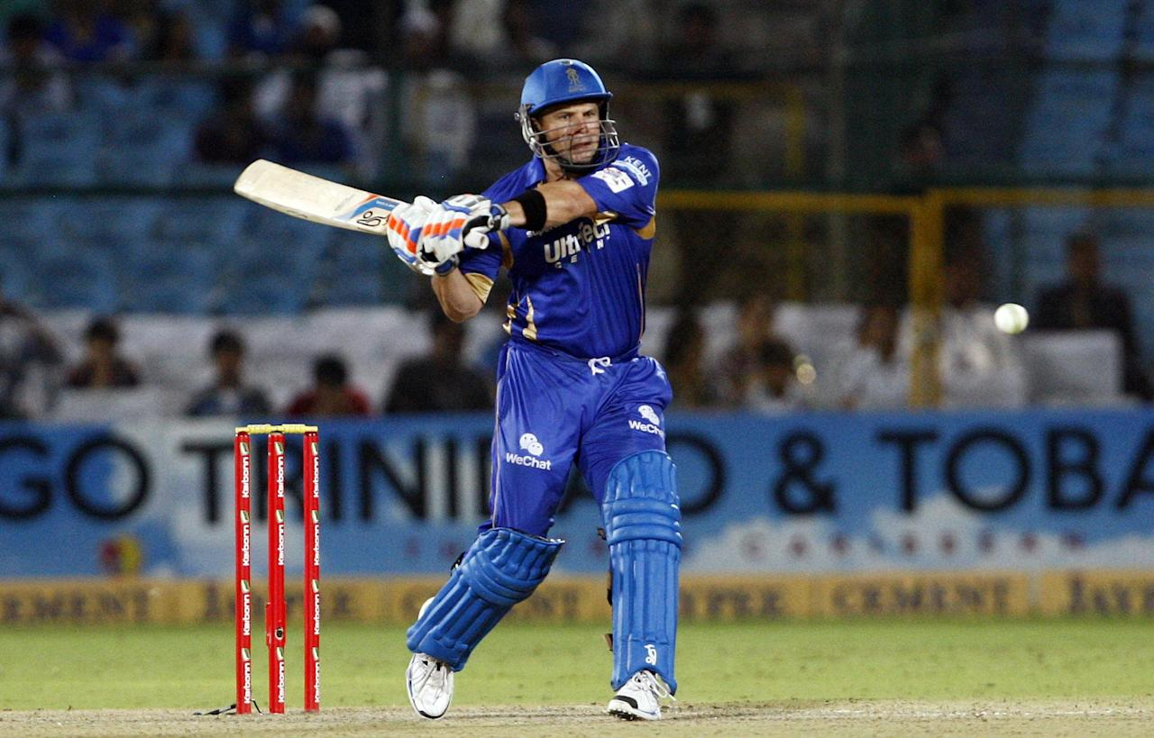 Rajasthan Royals batsman Shane Watson in action during the CLT20 match between Rajasthan Royals and Otago Volts at Sawai Mansingh Stadium in Jaipur on Oct. 1, 2013. (Photo: IANS)