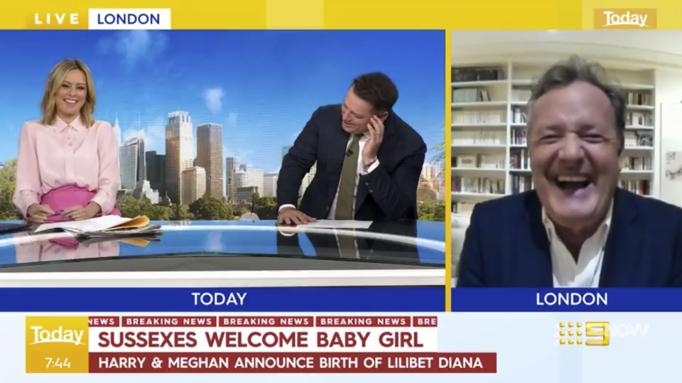Karl Stefanovic and Ally Langdon interview Piers Morgan