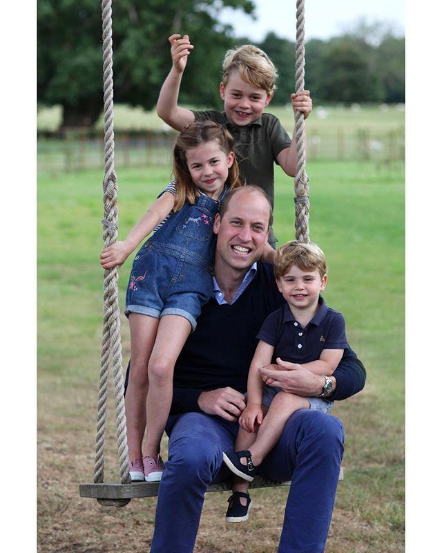 """<p>Kate Middleton <a href=""""https://www.elle.com/culture/celebrities/a32923302/kate-middleton-royal-kids-prince-william-birthday-photo/"""" rel=""""nofollow noopener"""" target=""""_blank"""" data-ylk=""""slk:shared a rare photo"""" class=""""link rapid-noclick-resp"""">shared a rare photo </a>of Prince William with George, 6, Charlotte, 5, and Louis, 2, which she took earlier this month. Nothing says fun family fun like a big-swing moment. The account also <a href=""""https://www.instagram.com/p/CBskP12lRfw/"""" rel=""""nofollow noopener"""" target=""""_blank"""" data-ylk=""""slk:shared a photo"""" class=""""link rapid-noclick-resp"""">shared a photo</a> of Prince Charles and William, as well as two <a href=""""https://www.instagram.com/p/CBs47LKlPig/"""" rel=""""nofollow noopener"""" target=""""_blank"""" data-ylk=""""slk:bonus photos"""" class=""""link rapid-noclick-resp"""">bonus photos</a> of William sharing a cuddle session with his kids. </p><p><a href=""""https://www.instagram.com/p/CBrAw7GFOv6/"""" rel=""""nofollow noopener"""" target=""""_blank"""" data-ylk=""""slk:See the original post on Instagram"""" class=""""link rapid-noclick-resp"""">See the original post on Instagram</a></p>"""