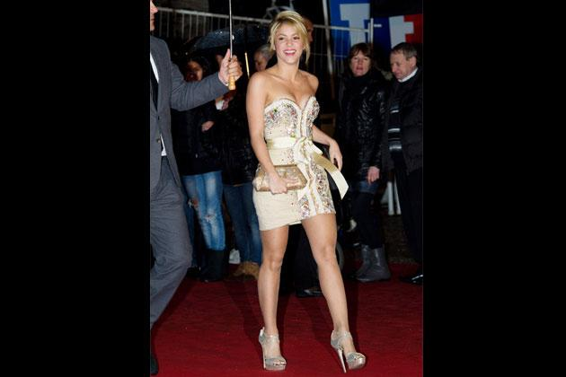 Early last 2012, Shakira attends the NRJ Music Awards at Cannes, France in a studded dress by Dubai-based Filipino designer Furne One.