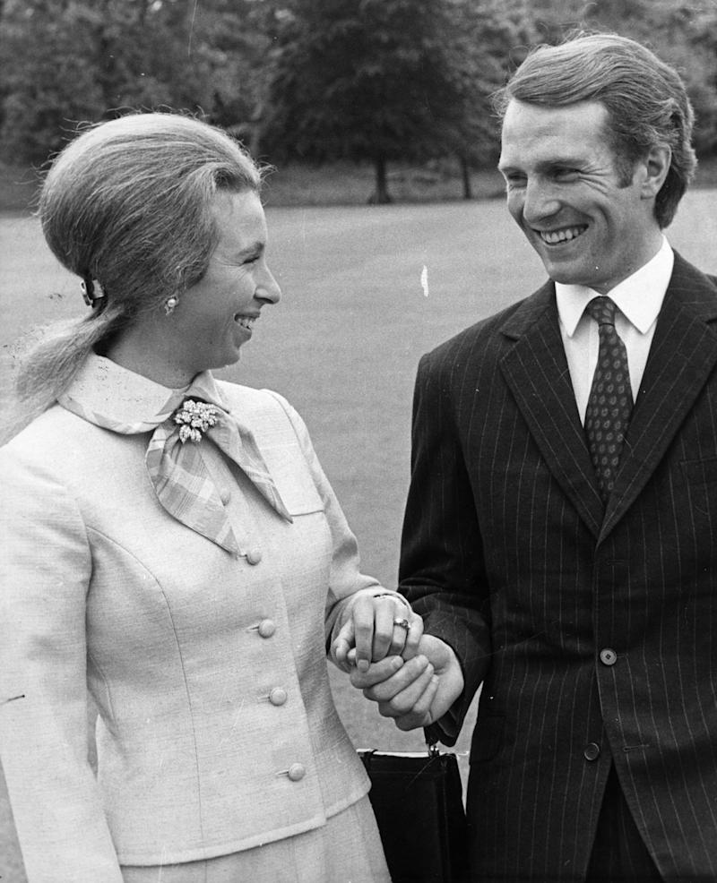 Princess Anne and her fiance, Captain Mark Phillips. Photo by Fox Photos/Getty Images.