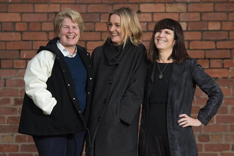 Sophie Walker (C), the leader of the Women's Equality Party, poses with the two joint founders of the party, Catherine Mayer (R) and Sandi Toksvig