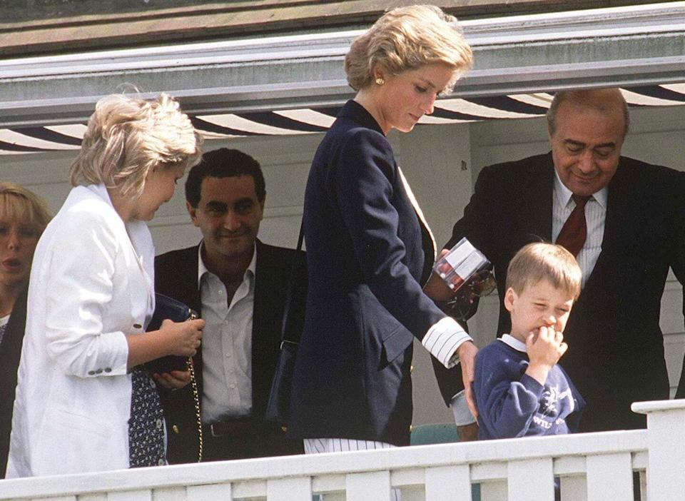 PRINCESS DIANA, PRINCE WILLIAM WITH DODI AND MOHAMED AL FAYED