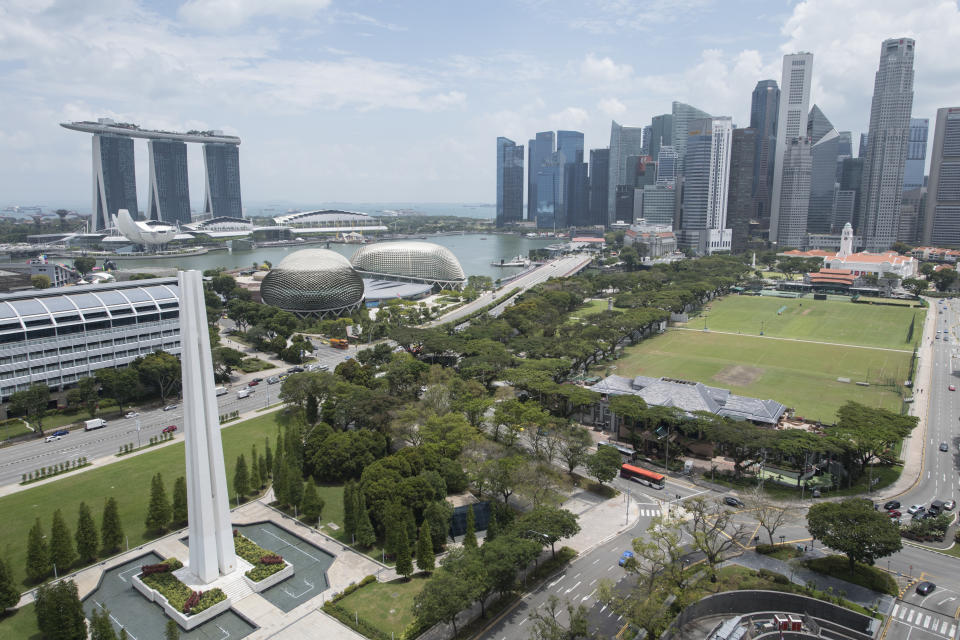 The main skyline of the Central Business District and Marina Bay Sands area in Singapore. (Photo: Getty Images)