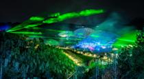 <p>Lasers over the biomes at Eden Project, where a light and sound show featuring lasers by renowned artist Chris Levine which will be the highlight of the Eden Project's Christmas celebrations in Boldeva, Cornwall. (PA) </p>