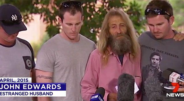 Mr Edwards made a plea to help find his missing wife a month after her disappearance. Source: 7 News