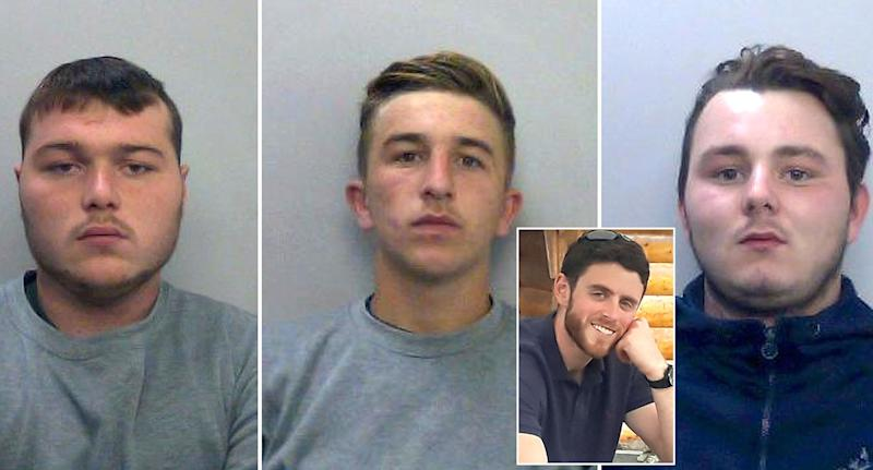 (LtR) Henry Long, 19, Jessie Cole and Albert Bowers, both 18, were sentenced for the death of Andrew Harper (inset). (PA Images)