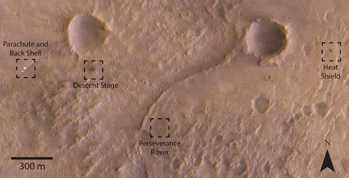 The orbiter spotted components spread over the landscape (ESA)