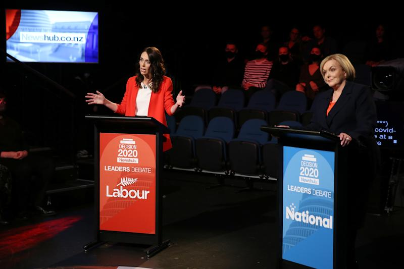 New Zealand PM Jacinda Ardern (left) has had a fiery debate with election rival Judith Collins. Source: EPA