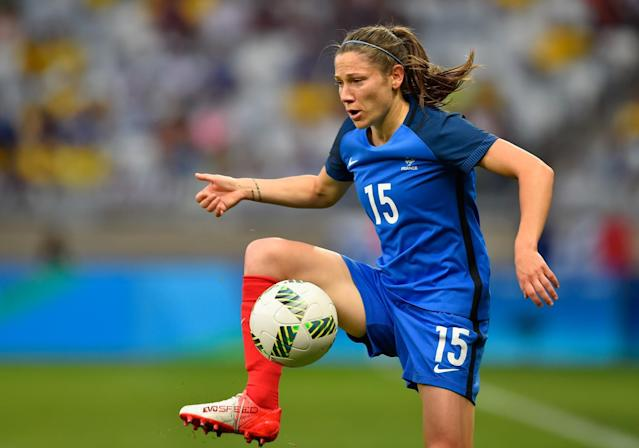 <p>Elise Bussaglia of France controls the ball during the Women's Group F first round match between United States and France during Day 1 of the Rio 2016 Olympic Games at Mineirao Stadium on August 6, 2016 in Belo Horizonte, Brazil. (Photo by Pedro Vilela/Getty Images) </p>