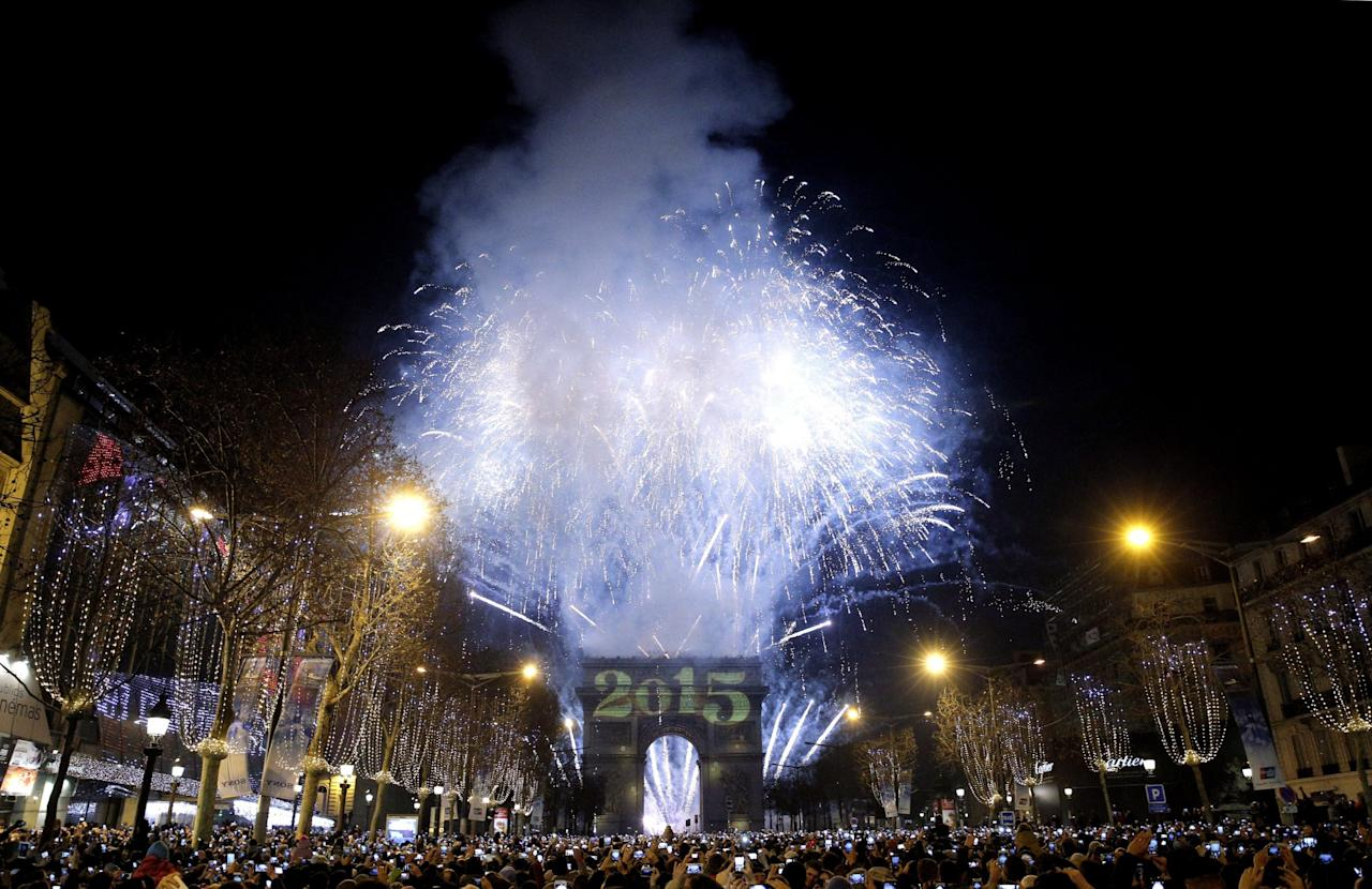 <p>Past new year's celebrations have been held at the Arc de Triomphe. Photo from The Canadian Press </p>