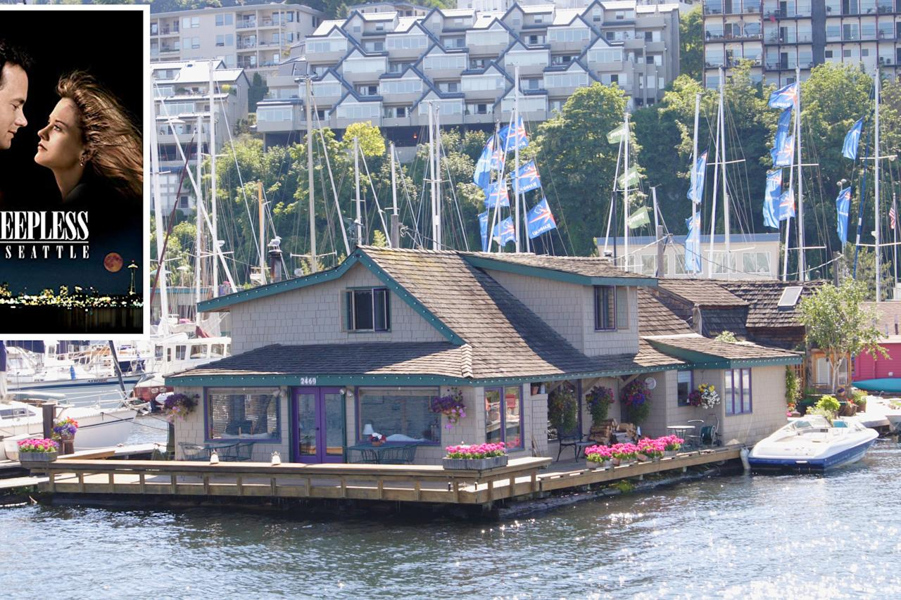 <p>Located in the Lake Union neighborhood of the movie's namesake city, this floating house still charms nearly 30 years after the release of the Tom Hanks-Meg Ryan classic. With clapboard siding, handsome wood beams, and a gourmet kitchen, its recent sale price of $2 million is nothing to lose sleep over. This is one dreamy waterfront home.</p>