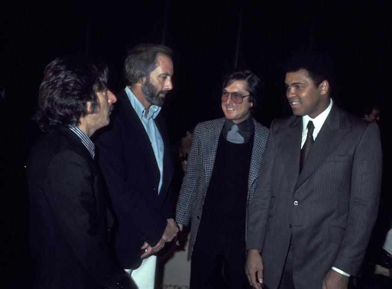 Dustin Hoffman, Robert Evans and Muhammad Ali during 1977 Publicists Guild Awards at Bonaventure Hotel in Los Angeles, California, United States. (Photo by Ron Galella/Ron Galella Collection via Getty Images)