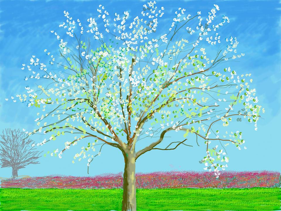 The 116 identically sized iPad paintings confine themselves to the gardens and fields immediately surrounding Hockney's house in Normandy and herald the arrival of spring© David Hockney