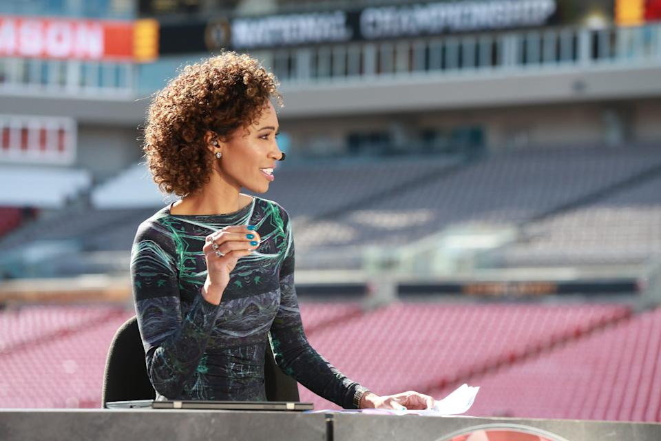 ESPN's Sage Steele broadcasts from the 2017 CFP National Championship Game in Tampa, Florida.