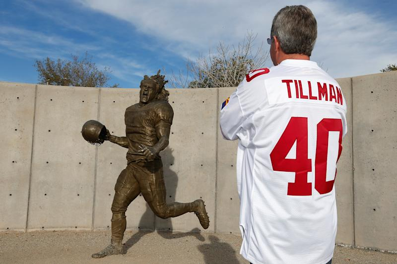 The Arizona Cardinals built a statue honoring Pat Tillman outside of University of Phoenix Stadium. Tillman was killed in Afghanistan 15 years ago Monday. (Getty Images)