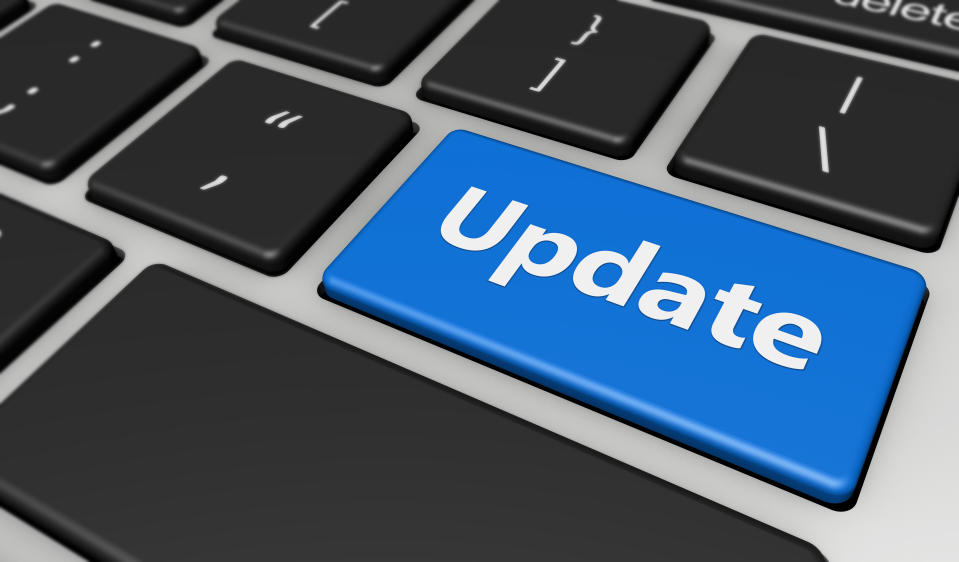 Update sign and text on a computer keyboard button 3D illustration.