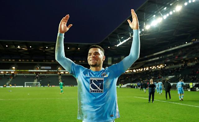 Soccer Football - FA Cup Fourth Round - Milton Keynes Dons vs Coventry City - Stadium MK, Milton Keynes, Britain - January 27, 2018 Coventry's Maxime Biamou celebrates at the end of the match Action Images/Andrew Boyers