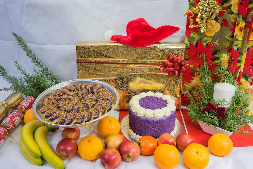 FILE PHOTO: Filipino purple yam cake and sweets in a display at Xmas with fruit (Source: Getty Creative)