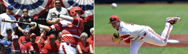 FILE - At left, in a June 9, 2017, file photo, Louisville's Brendan McKay bats during the team's NCAA college baseball tournament super regional game against Kentucky, in Louisville, Ky. At right, in a June 11, 2016, file photo, Louisville's Brendan McKay pitches against UC Santa Barbara during an NCAA college baseball tournament super regional game in Louisville Ky. Louisville coach Dan McDonnell is going to bat for two-way college baseball players. With the hubbub over Japanese two-way sensation Shohei Ohtani, he said, the time has come for collegians excelling as pitchers and hitters to get more opportunities to do both as professionals. The more success Ohtani has, the better for Brendan, McDonnell said. (AP Photo/Timothy D. Easley, File)