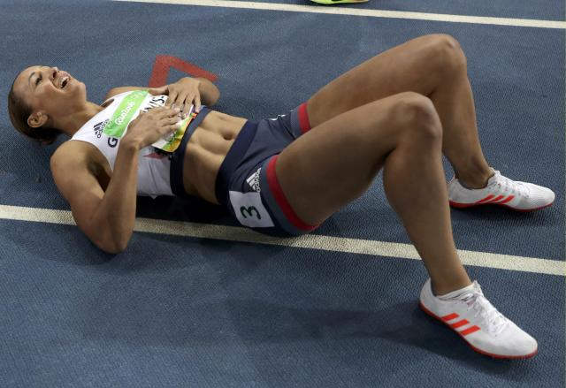 2016 Rio Olympics - Athletics - Final - Women's Heptathlon 800m - Olympic Stadium - Rio de Janeiro, Brazil - 13/08/2016. Silver medallist Jessica Ennis-Hill(GBR) of Britain reacts after finishing the race. REUTERS/Phil Noble FOR EDITORIAL USE ONLY. NOT FOR SALE FOR MARKETING OR ADVERTISING CAMPAIGNS.
