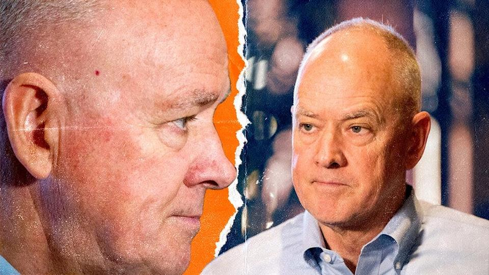 Sandy Alderson treated front and side shot with orange and blue