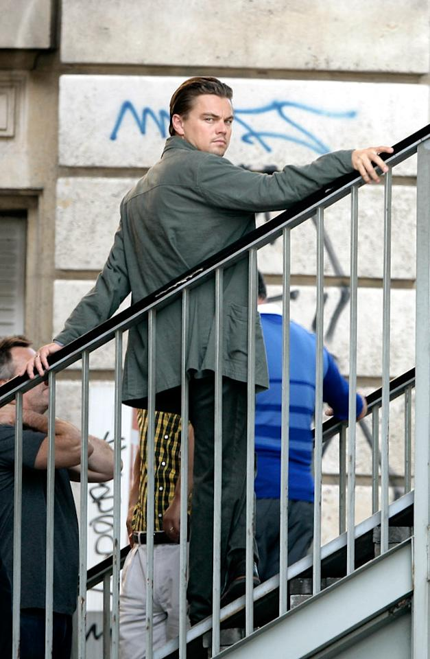 """Leonardo DiCaprio delivers a smoldering look as he prepares to shoot a scene for """"Inception,"""" a sci-fi thriller written and directed by Christopher Nolan (""""The Dark Knight""""). KCSPresse/<a href=""""http://www.splashnewsonline.com"""" target=""""new"""">Splash News</a> - August 17, 2009"""