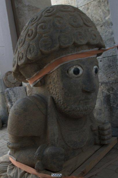 A newly excavated statue standing 5 feet (1.5 m) tall may have represented a Neo-Hittite king. (Photo By Jennifer Jackson)