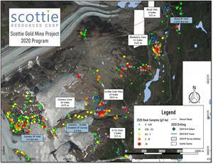 Overview of the 2020 Scottie Gold Mine Project field program.