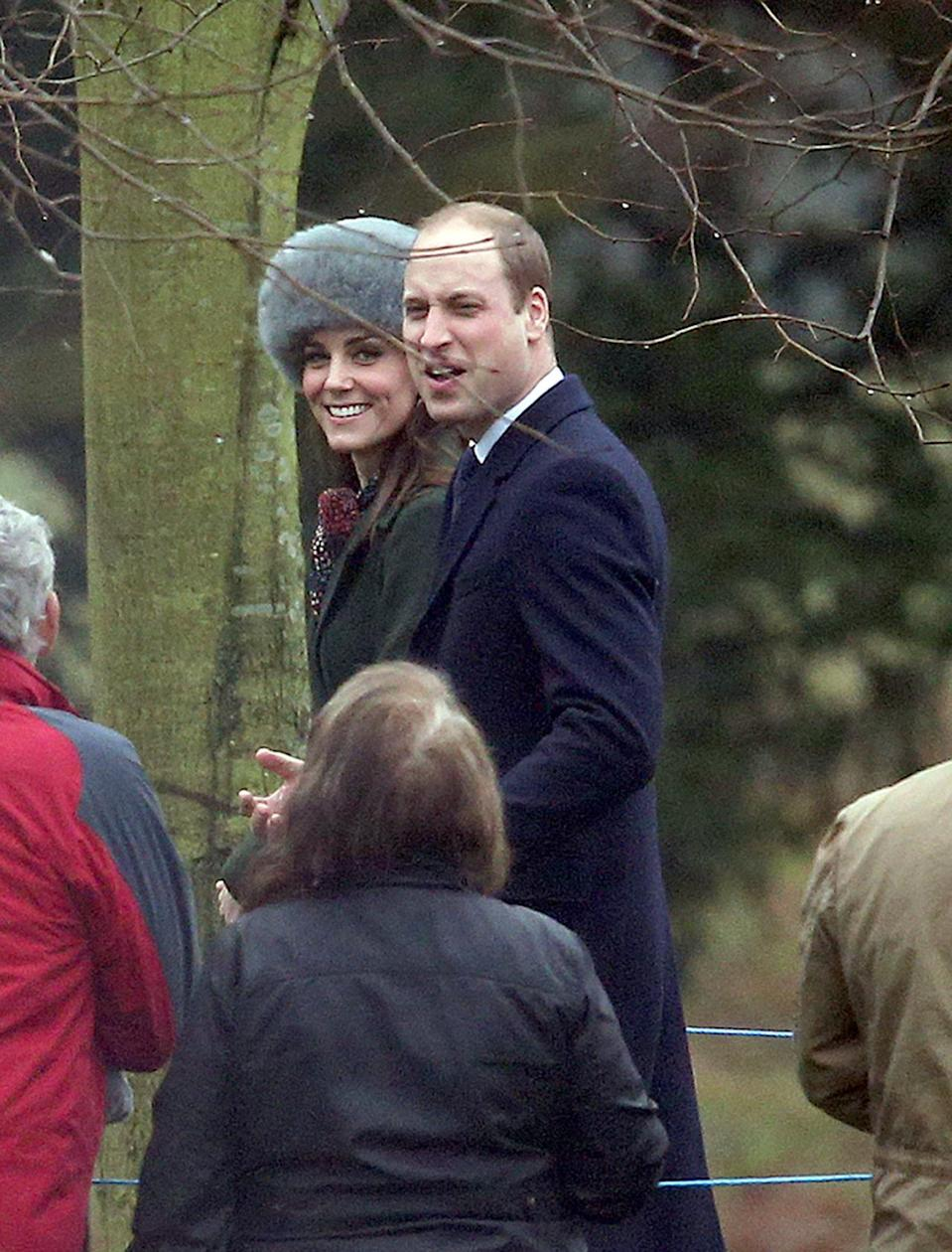 <p>Kate chose a much-favoured dark green coat by Sportmax for a church service at Sandringham. The coat was first seen on the Duchess on Christmas Day in 2015. This year, she paired the look with a printed scarf from L.K. Bennett and a furry grey hat. </p><p><i>[Photo: PA]</i></p>