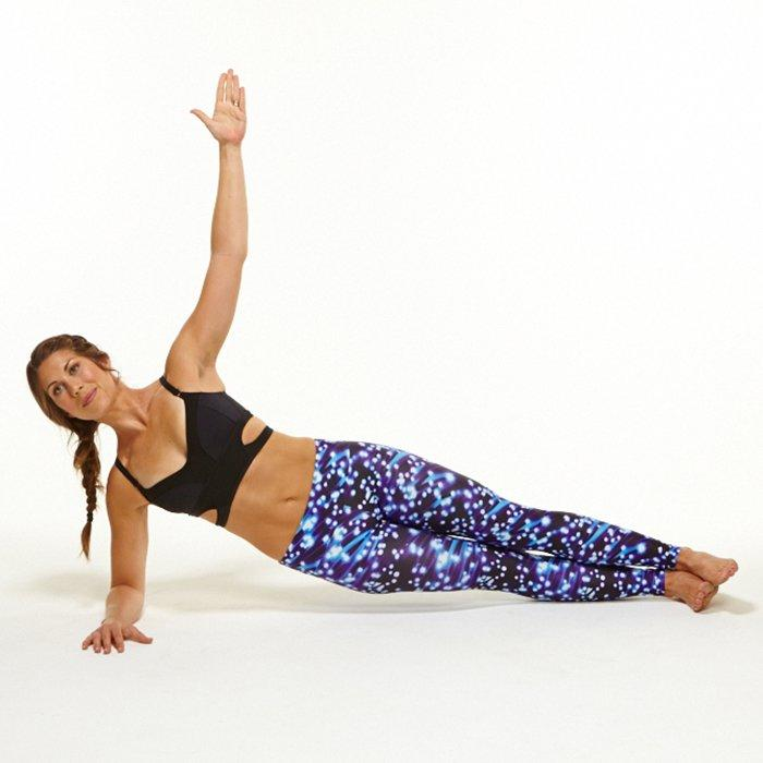 """<p>Jeff Schultz, director of training at <a href=""""http://Pinnaclesportstraining.com"""" target=""""_blank"""">Pinnacle Sports Inc.</a>, swears by this oblique workout move. """"It's a great multi-muscle core strength and stability exercise. It hits the obliques, abs, and back muscles."""" (Related: <a href=""""https://www.shape.com/fitness/videos/side-planks-best-obliques-exercise"""" target=""""_blank"""">Why Side Planks Are the Best Obliques Exercise Ever</a>.)</p> <p><strong>A.</strong> Start by lying on one side, propped up on one elbow, keeping body in a straight line, feet stacked on top of one another, hips lifted.</p> <p><strong>B.</strong> Lower slowly down until hip barely touches the ground, then lift back up. Do 10-12 reps, holding last rep for 15-30 seconds before dropping. Repeat on opposite side.</p>"""
