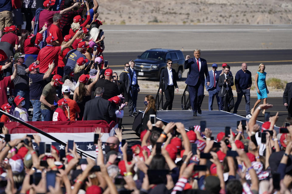 President Donald Trump arrives at a campaign rally Wednesday, Oct. 28, 2020, in Bullhead City, Ariz. (AP Photo/John Locher)