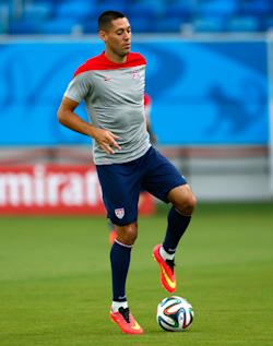 Clint Dempsey of the United States works out during training at Estadio das Dunas. (Getty Images)