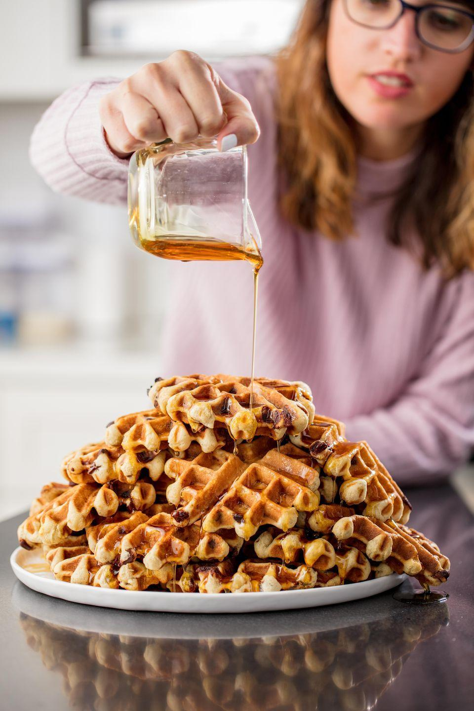"""<p>The second best duo of the day.</p><p>Get the recipe from <a href=""""https://www.delish.com/cooking/a22999009/banana-bread-waffles-recipe/"""" rel=""""nofollow noopener"""" target=""""_blank"""" data-ylk=""""slk:Delish"""" class=""""link rapid-noclick-resp"""">Delish</a>.</p>"""