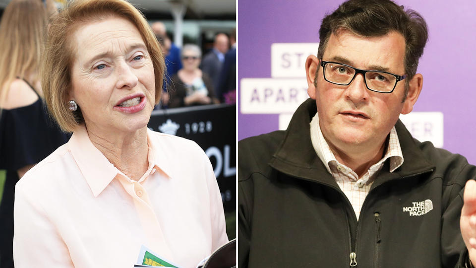 Gai Waterhouse and Daniel Andrews, pictured here earlier in 2020.