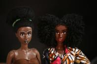 New model of dolls called Aissa are pictured at the office of Sarah Coulibaly, an Ivorian designer and creator of Naima Dolls brand of dark-skinned dolls, in Abidjan