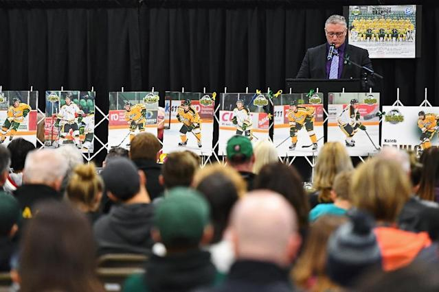 The driver and 15 Humboldt Broncos players and staff were killed in the 2018 crash, which ripped the bus open (AFP Photo/JONATHAN HAYWARD)