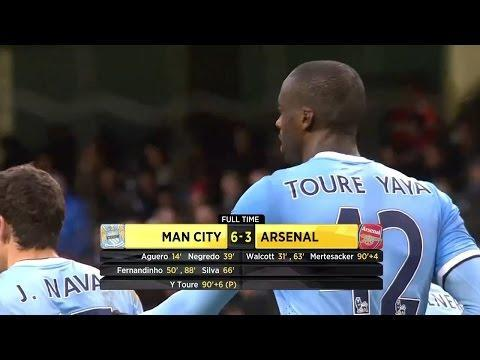 <p>An incredible game at the Etihad saw nine goals and a result that set City on their way to their second Premier League title in three years.</p> <p><br> Sergio Aguero, as he has done so many times in this fixture, put City ahead, before Theo Walcott equalised in the 31st minute. Alvaro Negredo's goal sent City into a half-time lead. What followed in the second-half can only be described as a goal-fest. </p> <p><br> Fernandinho made it 3-1, only for Walcott to net his second and give Arsenal hope. However, goals from David Silva and Fernandinho, his second of the game, put City back in control at 5-2.</p> <p><br> Arsenal seemed to salvage some pride when Per Mertesacker scored in added-time. Yet there was still time for Yaya Toure to net a penalty and give his side a 6-3 victory. </p>