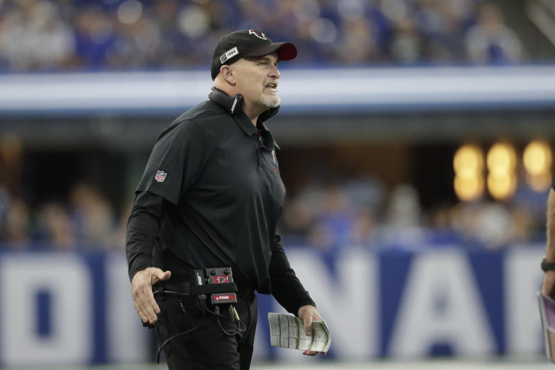 Atlanta Falcons head coach Dan Quinn shouts during the first half of an NFL football game against the Indianapolis Colts, Sunday, Sept. 22, 2019, in Indianapolis. (AP Photo/Michael Conroy)