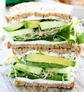 """<p>Between <a href=""""http://www.daveskillerbread.com/?mbid=synd_yahoofood"""" rel=""""nofollow noopener"""" target=""""_blank"""" data-ylk=""""slk:Dave's Killer Bread"""" class=""""link rapid-noclick-resp"""">Dave's Killer Bread</a> (trust us, it really is killer), and a good smear of goat cheese on each slice of bread, one of these sandwiches packs an impressive 24 grams of protein. Get the recipe <a href=""""https://www.twopeasandtheirpod.com/cucumber-and-avocado-sandwich?mbid=synd_yahoofood"""" rel=""""nofollow noopener"""" target=""""_blank"""" data-ylk=""""slk:here"""" class=""""link rapid-noclick-resp"""">here</a>.</p><p><b>Per one serving:</b> <em>485 calories, 24 g protein</em></p>"""