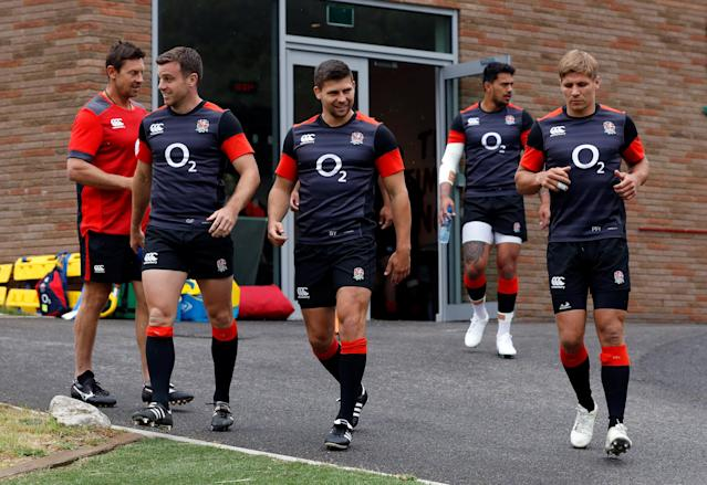 Rugby Union - England Training - Pennyhill Park, Bagshot, Britain - May 24, 2018 England's Ben Youngs and George Ford during training Action Images via Reuters/Andrew Couldridge