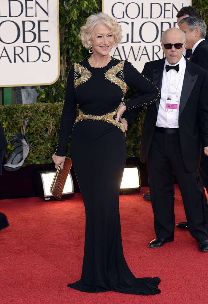 Best: Helen Mirren proves that sexy is sexy no matter what your age. The amazing actress' Badgley Mischka gown flatters her fabulous figure in the most perfect way.