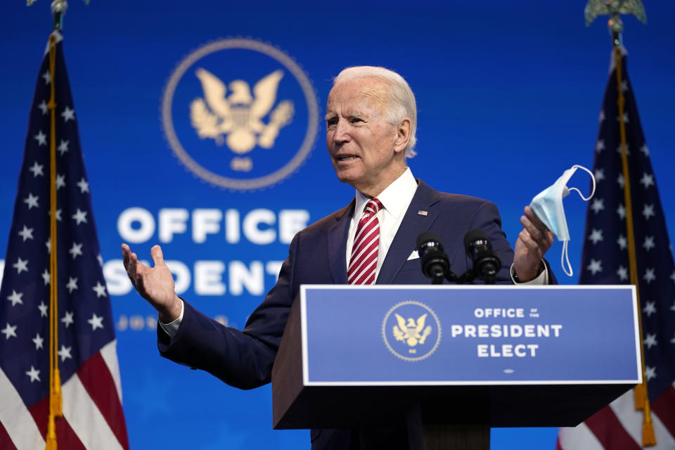 President-elect Joe Biden speaks about economic recovery in Wilmington, Del. (Andrew Harnik/AP)