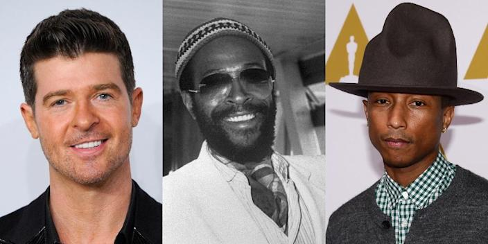 A combination of file photos showing (from L) US-Canadian singer Robin Thicke, US singer Marvin Gaye and US singer Pharrell Williams (AFP Photo/Frederic J. BROWN, JOHN THYS)