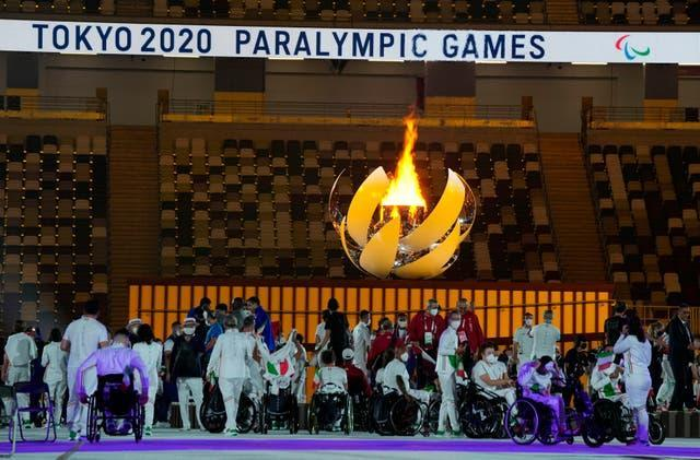 A view of the Paralympic cauldron at Tokyo's opening ceremony
