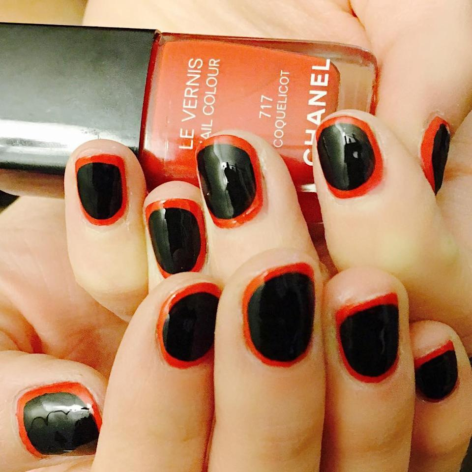 """Orange and black are a failsafe, but the outlined edges are <a href=""""https://www.glamour.com/gallery/best-spring-nail-ideas?mbid=synd_yahoo_rss#10"""" rel=""""nofollow noopener"""" target=""""_blank"""" data-ylk=""""slk:on trend"""" class=""""link rapid-noclick-resp"""">on trend</a>."""